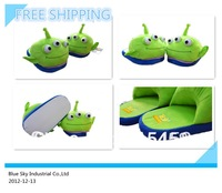 1Pair Free Shipping  3 eyes toy story cartoon slippers plush slipper Adult 11inch indoor shoes