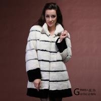 2013 women's black-and-white winter mink fur outerwear thermal medium-long women's