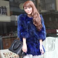2014 new 1005 real natural raccoon fur coat medium-long fur coat women overcoat TP5