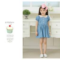 Retail fashion Summer kids clothing girls lace denim dress,5 pcs/lot free shipping GQ-330