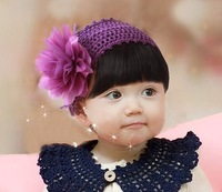 Handmade Purple Flower Baby Hairbands,Girls Feather Headband,Infant Knitting Hair Weave,Baby Hair Accessories HB040