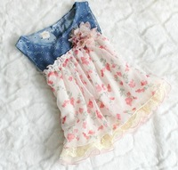 4pcs/lot 2013 summer wear baby girl's hollow out denim chiffon flower tank dress