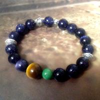 original design understated punk Turkey turquoise blue gravel with Tiger Eye Bracelet beads gemstone jewelry