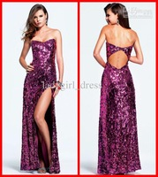 Wholesale - Dazzling Open Back Strapless Sequins Fabric Dark Purple Long Evening Prom Dresses Formal Dress Gown