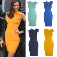 4 Colors Sexy Irina Shayk Bandage Dress Celebrity Dresses 2014 Knitted Bodycon Elegant Party Evening Dress