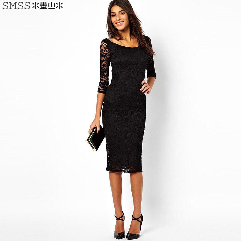 New 2014 brand design o-neck slim one-piece lace dress with three quarter sleeve(China (Mainland))