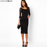New 2014 brand design o-neck slim one-piece lace dress with  three quarter sleeve
