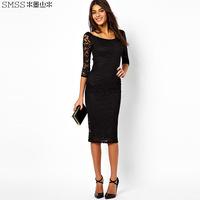 New 2014 brand design o-neck slim one-piece lace dress with  three quarter sleeve