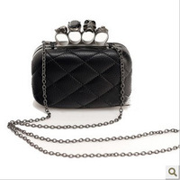 2014 vintage purse,Black Skull Knuckle Rings Handbag Clutch Evening Bag With shoulder Chain Perfect Free shopping