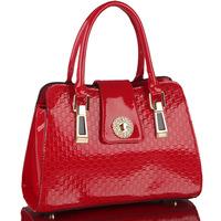2014 Sale Real Silt Pocket Zipper Hard Women Handbags Bolsa Japanned Leather Handbag One Shoulder Cross-body Shaping Women's Bag