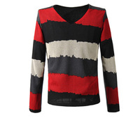 New arrived Free Shipping 2014 Men's long Sleeve stripe cotton T-shirt, Man fashion Slim fit T shirt plus size 1Pcs/Lot  W330