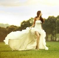 New Arrival Organza White Princess Wedding Dresses Korea Floor-Length Low-high Removable Train Wedding Dresses