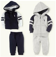 2014 spring autumn children clothing set the pol* Hoody jacket+pants long-sleeve set kids baby boy sport suit tracksuit 2pcs/set