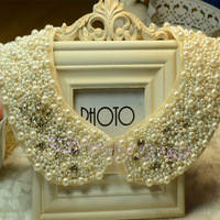 False collar lace vintage doll collar pearl decoration necklace female crystal shirt white collar