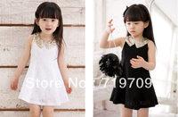 Baby Kids Children's Girls Lovely Sequins Collar Sleeveless Vest Princess Lace Dress GQ-333