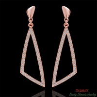Genuine 18K Rose Gold Plated Special Triangle Stud Earrings Jewelry with Real Swarovski Austrian Rhinestone Crystal E275