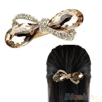 Новый Кристалл Rhinestone Овальном бантом заколки для волос аксессуары клипа Зажим Шпилька Головные уборы