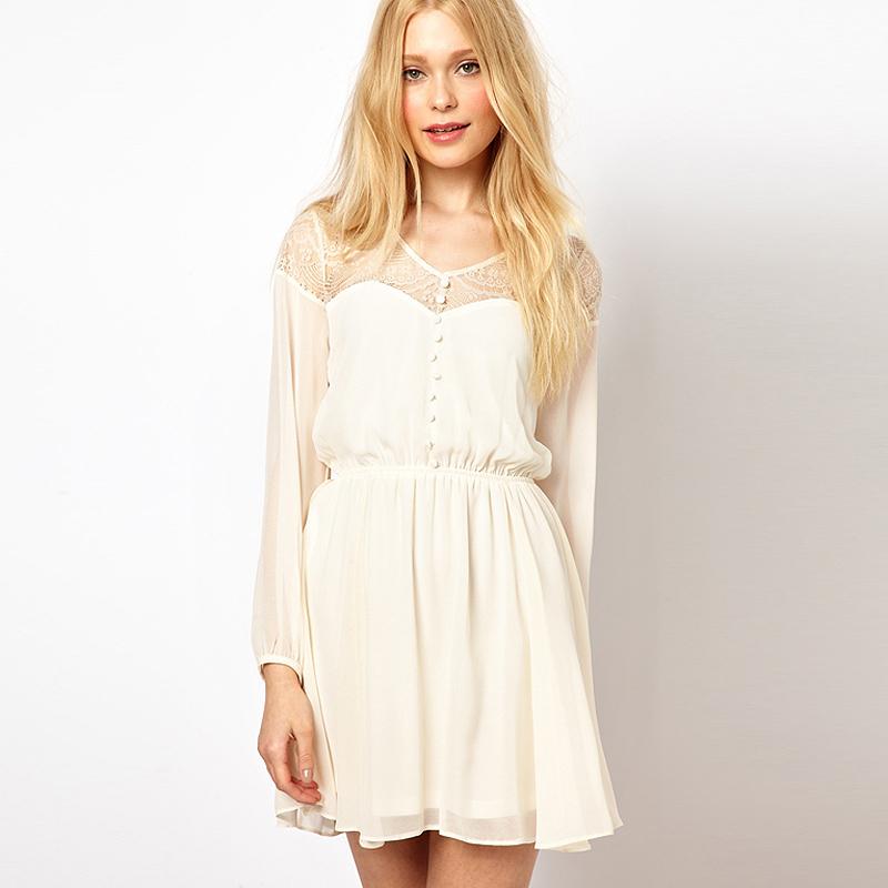 Smss fashion women's long-sleeve cutout eyelash lace long-sleeve chiffon solid color white one-piece dress(China (Mainland))