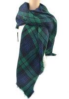 Free Shipping New Fashion Women Elegant Vintage Green Plaid Scarf Brand Designer Classic Scarves Pashmina Muffler Wrap For Woman