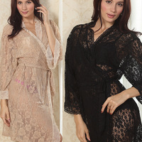 Womens Sexy See Through Lace Sleepwear Robes Lingerie Pajamas Nightgown Bathrobe Free&Drop shipping