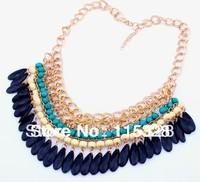 Gold Bohemian Layered Tassels Dress Drop Shorts Choker Bib Statement Pendants Necklaces 2014 New Fashion Jewelry Gift For Women