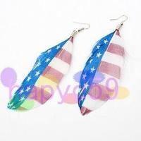 5pair western fashion UK USA flag feather earrings bohemia folk dangler ear pendants stage performance handmade jewelry Earring