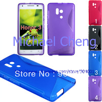 For Huawei Honor 3 case, Anti skip S line tpu gel soft case for Huawei Honor 3 tpu case cover