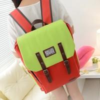 Color block female backpack school bag candy color women's handbag preppy style strap decoration female backpack