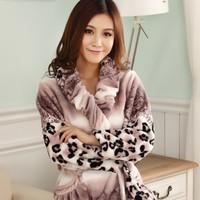 2014 FREE SHIPPING Autumn and winter thickening coral fleece robe female bathrobe flannel sleepwear princess lounge