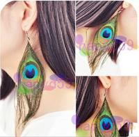 5pairs western fashion peacock feather earring ear pendants bohemia folk dangler stage performance handmade jewelry earrings