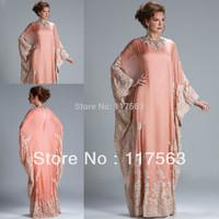 2014 New Arrival Dubai Caftan Coral Color Applique Lace Chiffon Arabic Evening Dress Women Free Shipping WL196