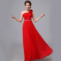 2014 red evening dress long design  fashion evening dress the bride married bridesmaid one shoulder oblique slim