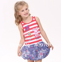 Free Shipping nova 2014 baby girls dress lovely fashion cotton peppa pig dress girls sleeveless casual dress for girls