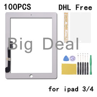 White and Black Touch screen digitizer Outer glass lens replacement for iPad 3/4 +tools +adhesive +protective film 100pcs/lot