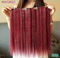18'' long, 9 colors, clip in hair extension, straight synthetic hair, wig cosplay, 1pcs