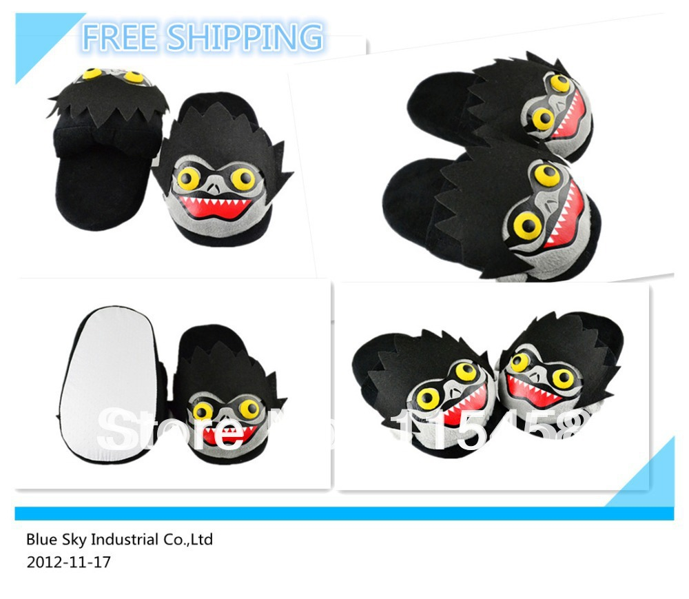 1 Pair Death Note Lyuuku Slippers Cartoon Plush Indoor Shoes Japan Anime Cosplay Free Shipping(China (Mainland))