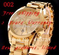 2014    Men and women set auger three-eyed steel band quartz watch Shock Resistant Water Resistant