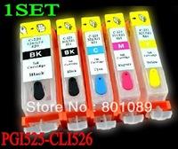 Free shipping  PGI525 CLI526 Refillable ink cartridge for Canon  PIXMA iP 4850; MG5150/5250/6150/8150 (5pcs/set)