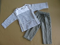 newest spring new 2014 Baby clothing sets children t shirts and pants long sleeve velvet baby clothes set