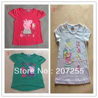 Free shipping character girls peppa pig short sleeved 3 colors t shirt  top tee