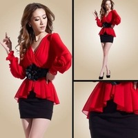 2014 new three-dimensional plate of irregular chiffon stitching package hip dress send flowers belt, free shipping