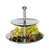 fashion quality double layer stainless steel fruit plate kitchen supplies dessert plate