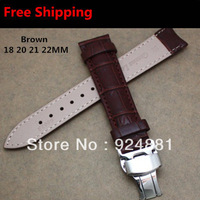 22MM Men Watchbands,Stainless Steel Butterfly Clasp,Genuine Leather,Brown,Watch Band Strap,Free Shipping