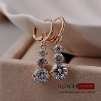 K8049 Fashion 18K Gold Plated Earrings Trendy Zircon  Hoop Earrings Women Crystal Jewelry Gift For Girls