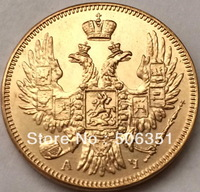 100% 24-K Gold plated 1840 russia 5 Roubles gold Coin copy