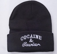 10Pcs/LOT Hot Selling New Cocain & Caviar Style Fashion Men Women Skull Beanie Hat Winter Fall Hiphop Warm Cap