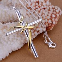 Golden Cross Pendants 925 silver necklaces Colar de Prata 20'' snake chains np088 For Gift