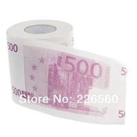 Free shipping 2Pieces Money EURO Toilet Roll - Euro 500 Bill Toilet Paper Novelty Euro Toilet Tissue
