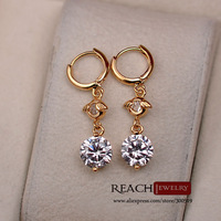 K8051 Fashion 18K Gold Plated Earrings Cubic Zircon Women Hoop Earrings Ausrtia Crystal Jewelry Gift