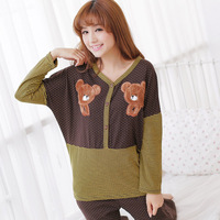 2013 lounge sleepwear women's long-sleeve cartoon animal applique bear wool fleece sleep set
